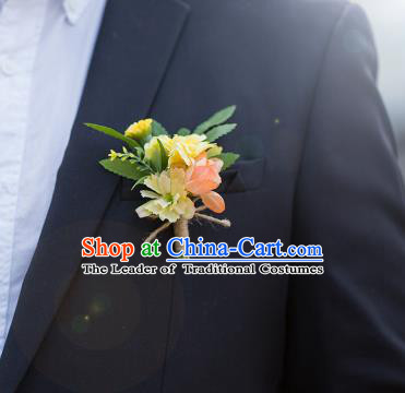 Top Grade Classical Wedding Silk Flowers,Groom Emulational Corsage Groomsman Pink Brooch Flowers for Men