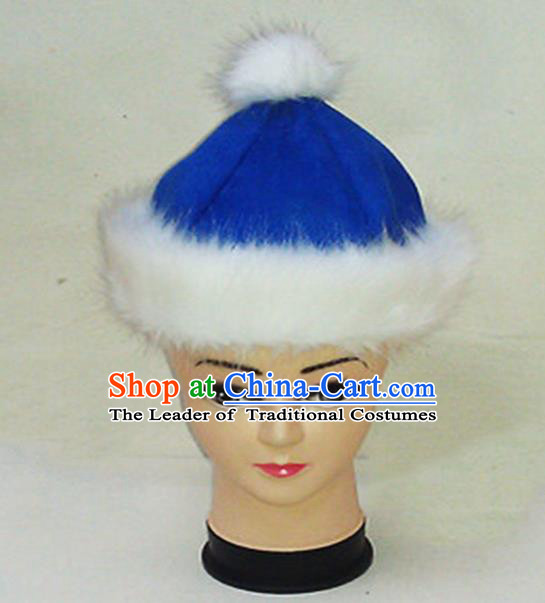 Traditional Chinese Mongol Nationality Dancing Accessories Headdress, Mongolian Folk Dance Ethnic Children Headwear China Mongolian Minority Palace Princess Blue Deer Velvet Hat for Kids