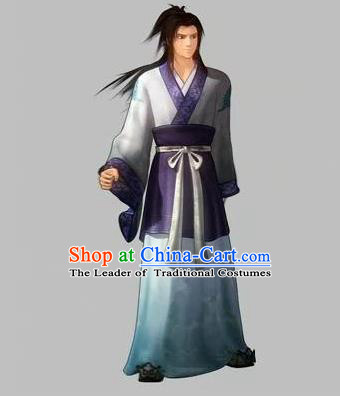 Traditional Ancient Chinese Classical Cartoon Character Uniform Cosplay Swordsman Game Role Complete Set for Men