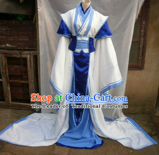 Traditional Ancient Chinese Classical Cartoon Character Immortal Uniform Cosplay Game Role Han Dynasty Swordmen Costume Complete Set for Men