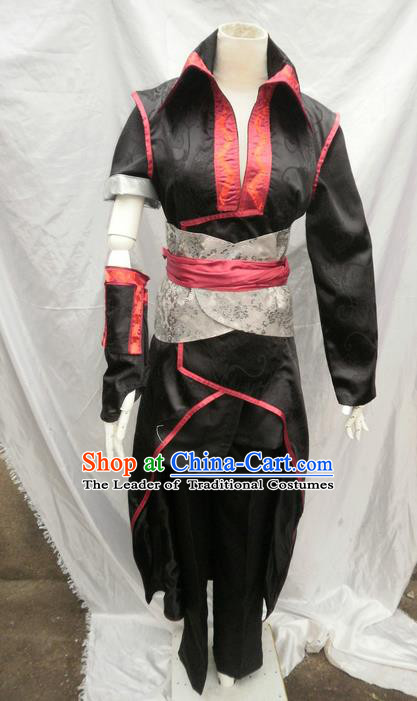 Traditional Ancient Chinese Classical Cartoon Character Uniform Cosplay Game Role Han Dynasty Swordmen Black Costume Complete Set for Men