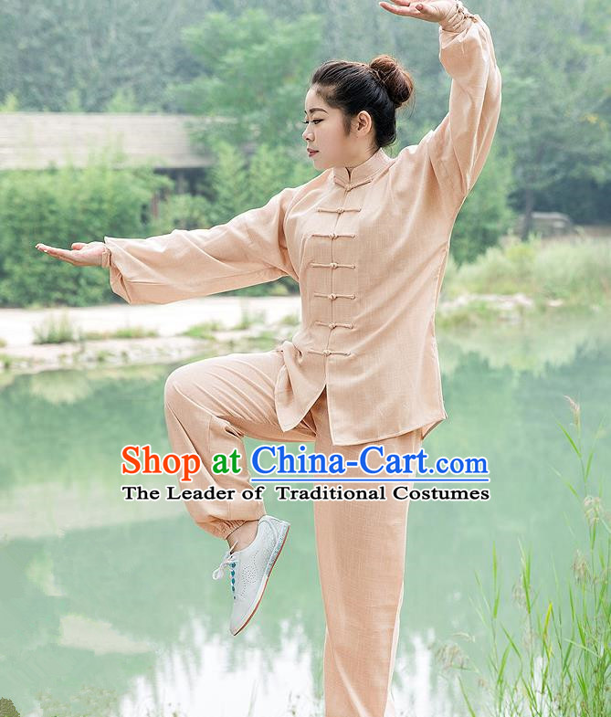 Traditional Chinese Top Linen Kung Fu Costume Martial Arts Kung Fu Training Light Brown Uniform, Tang Suit Gongfu Shaolin Wushu Clothing, Tai Chi Taiji Teacher Suits Uniforms for Women