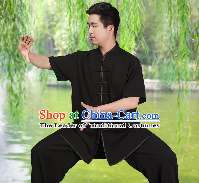 Traditional Chinese Top Silk Cotton Kung Fu Costume Martial Arts Kung Fu Training Short Sleeve Black Uniform, Tang Suit Gongfu Shaolin Wushu Clothing, Tai Chi Taiji Teacher Suits Uniforms for Men