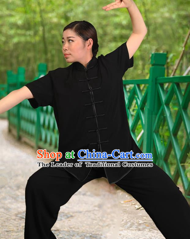 Traditional Chinese Top Silk Cotton Kung Fu Costume Martial Arts Kung Fu Training Black Sleeve White Uniform, Tang Suit Gongfu Shaolin Wushu Clothing, Tai Chi Taiji Teacher Suits Uniforms for Women