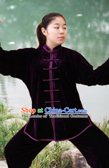 Traditional Chinese Top Pleuche Kung Fu Costume Martial Arts Kung Fu Training Black Plated Buttons Uniform, Tang Suit Gongfu Shaolin Wushu Clothing, Tai Chi Taiji Teacher Suits Uniforms for Women