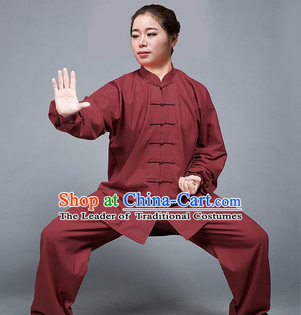 Traditional Chinese Top Flax Kung Fu Costume Martial Arts Kung Fu Training Red Uniform, Tang Suit Gongfu Shaolin Wushu Clothing, Tai Chi Taiji Teacher Suits Uniforms for Women