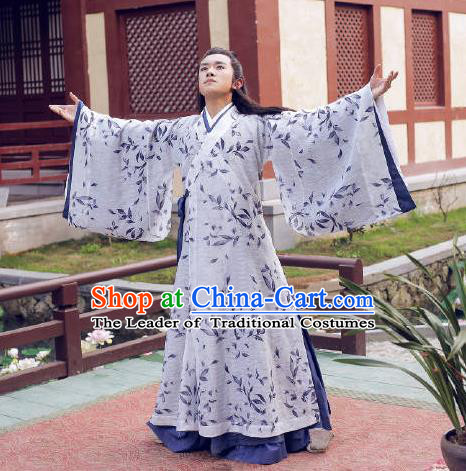Traditional Ancient Chinese Nobility Childe Costume, Elegant Hanfu Male Lordling Wide Sleeve Dress, China Han Dynasty Imperial Prince Printing Clothing for Men