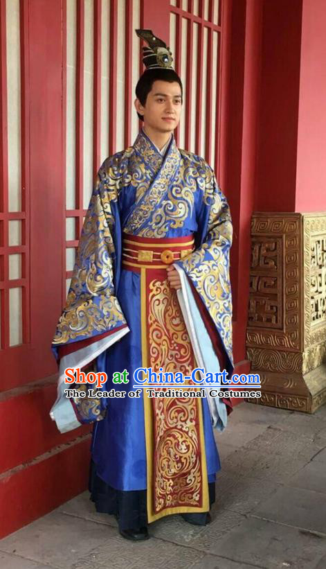 Traditional Ancient Chinese Nobility Childe Costume, Elegant Hanfu Male Lordling Dress Warring States Literati Embroidered Clothing, China Warring States Period Qu Yuan Imperial Prince Embroidered Clothing for Men