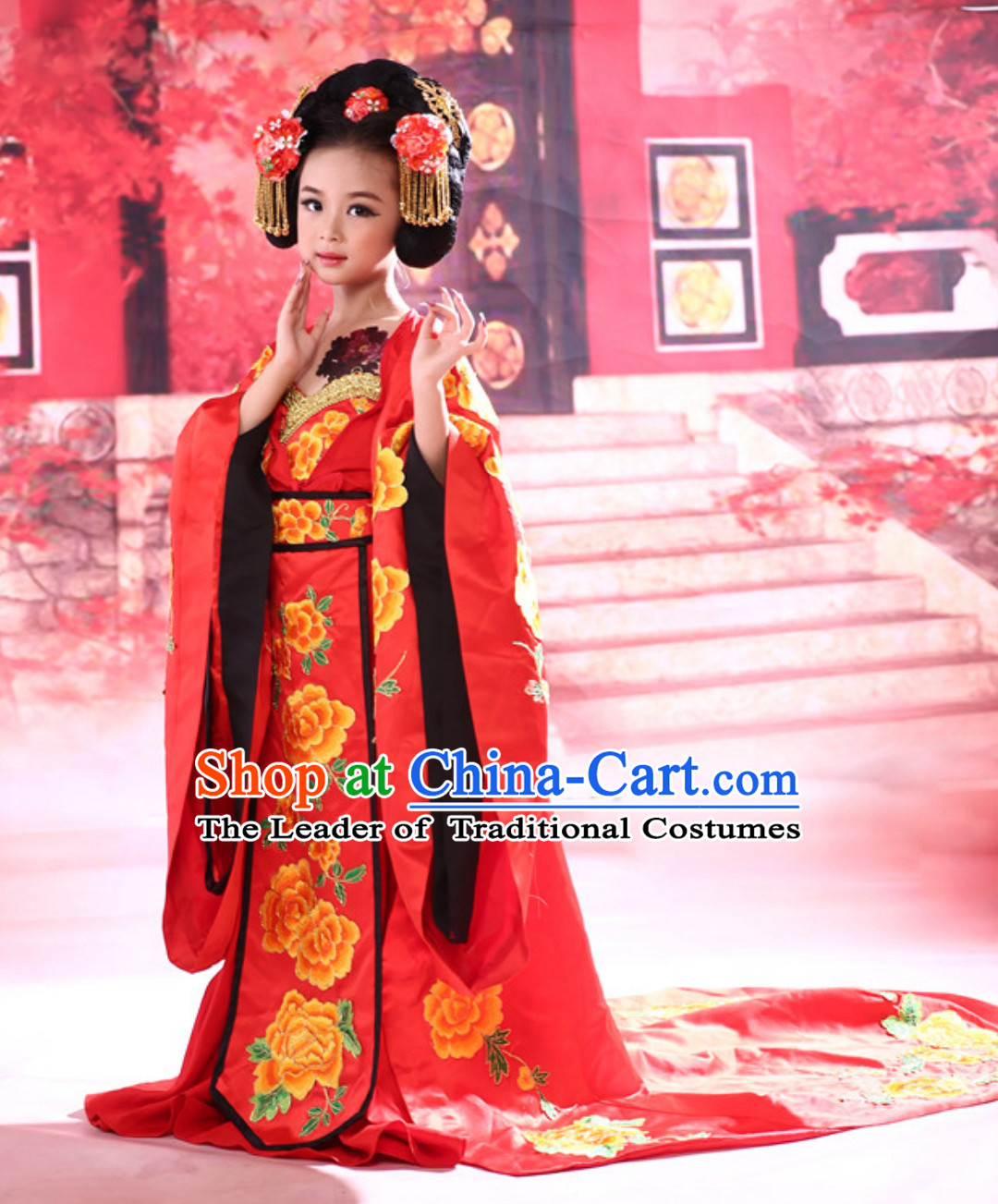 Chinese Ancient Princess Costumes and Hair Decorations Complete Set for Kids Girls Youth