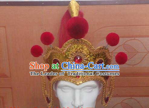 Traditional Ancient Chinese Classical Peking Opera Props, Tang Dynasty General Coronet Soldier Helmet Hat for Men