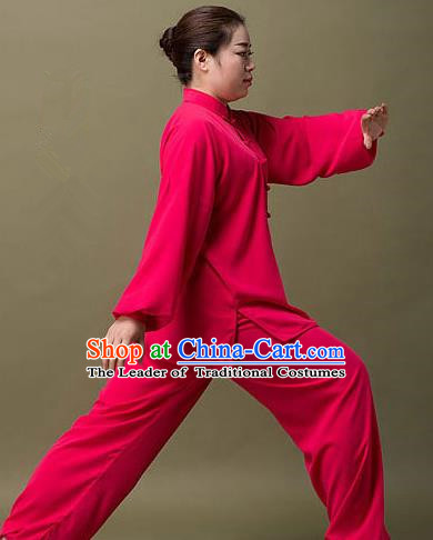 Traditional Chinese Top Silk Cotton Kung Fu Costume Martial Arts Kung Fu Training Colorful Plated Buttons Rose Red Uniform, Tang Suit Gongfu Shaolin Wushu Clothing, Tai Chi Taiji Teacher Suits Uniforms for Women