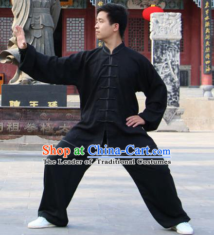 Traditional Chinese Top Silk Cotton Kung Fu Costume Martial Arts Kung Fu Training Plated Buttons Black Uniform, Tang Suit Gongfu Shaolin Wushu Clothing, Tai Chi Taiji Teacher Suits Uniforms for Men