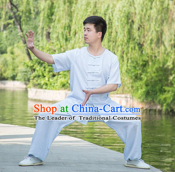Traditional Chinese Top Linen Kung Fu Costume Martial Arts Kung Fu Training Plated Buttons Short Sleeve White Uniform, Tang Suit Gongfu Shaolin Wushu Clothing, Tai Chi Taiji Teacher Suits Uniforms for Men