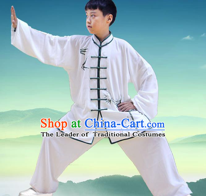 Traditional Chinese Top Silk Cotton Kung Fu Costume Martial Arts Kung Fu Training Children Plated Buttons Bamboo Uniform, Tang Suit Gongfu Shaolin Wushu Clothing, Tai Chi Taiji Teacher Suits Uniforms for Kids