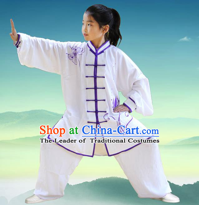 Traditional Chinese Top Silk Cotton Kung Fu Costume Martial Arts Kung Fu Training Children Plated Buttons Butterfly Uniform, Tang Suit Gongfu Shaolin Wushu Clothing, Tai Chi Taiji Teacher Suits Uniforms for Kids