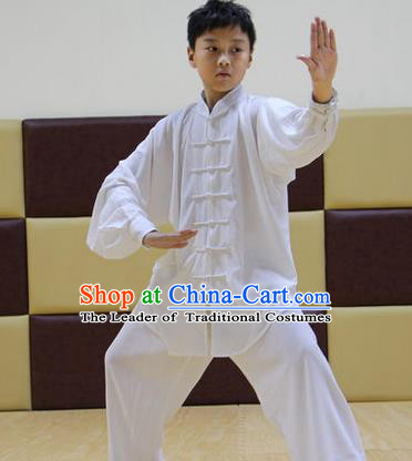 Traditional Chinese Top Silk Cotton Kung Fu Costume Martial Arts Kung Fu Training Children Plated Buttons White Uniform, Tang Suit Gongfu Shaolin Wushu Clothing, Tai Chi Taiji Teacher Suits Uniforms for Kids