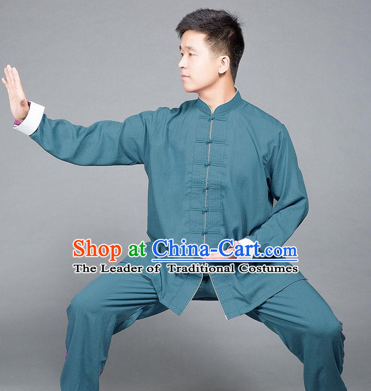 Traditional Chinese Top Linen Kung Fu Costume Martial Arts Kung Fu Training Plated Buttons Roll Sleeve Blue Uniform, Tang Suit Gongfu Shaolin Wushu Clothing, Tai Chi Taiji Teacher Suits Uniforms for Men