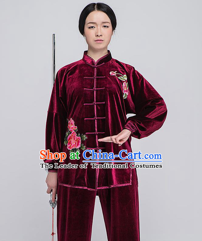 Traditional Chinese Top South Korea Velvet Kung Fu Costume Martial Arts Kung Fu Training Red Embroidered Uniform, Tang Suit Gongfu Shaolin Wushu Clothing, Tai Chi Taiji Teacher Suits Uniforms for Women