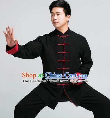 Traditional Chinese Top Muscle Hemp Kung Fu Costume Martial Arts Kung Fu Training Black Uniform, Tang Suit Gongfu Shaolin Wushu Clothing, Tai Chi Taiji Teacher Suits Uniforms for Men