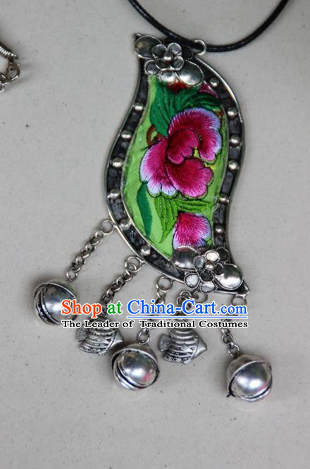 Traditional Chinese Miao Nationality Crafts, Hmong Handmade Silver Embroidery Bell Pendant, Black Rope Necklace Bell Pendant for Women