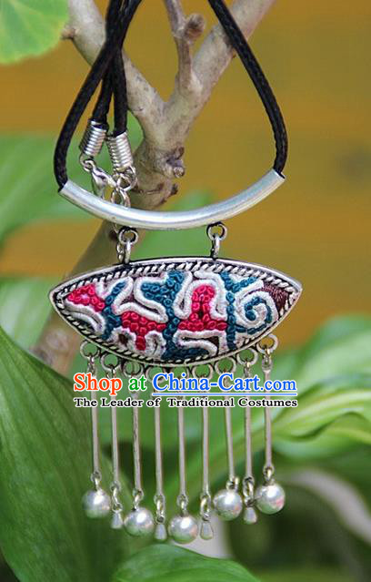 Traditional Chinese Miao Nationality Crafts, Hmong Handmade Silver Embroidery Pendant, Black Rope Necklace Bells Pendant for Women