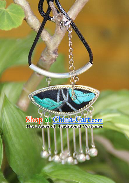 Traditional Chinese Miao Nationality Crafts, Hmong Handmade Silver Blue Embroidery Pendant, Black Rope Necklace Bells Pendant for Women