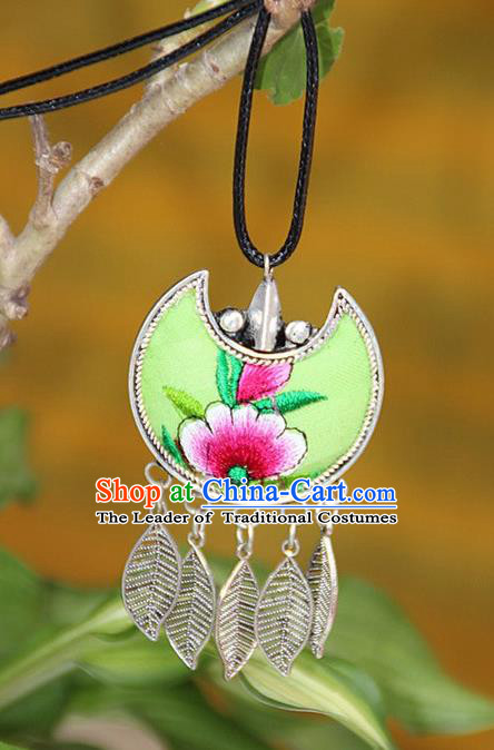 Traditional Chinese Miao Nationality Crafts, Hmong Handmade Silver Embroidery Green Pendant, Necklace Accessories Bells Pendant for Women