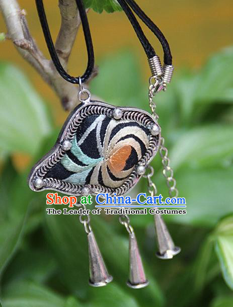 Traditional Chinese Miao Nationality Crafts Hmong Handmade Silver Embroidery Pendant, Ethnic Minority Miao Necklace Accessories Bells Pendant for Women