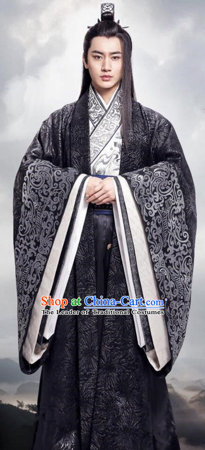 Traditional Ancient Chinese Nobility Childe Costume, Elegant Hanfu Male Lordling Dress, Warring States Swordsman Clothing, China Warring States Period Prince Embroidered Clothing for Men
