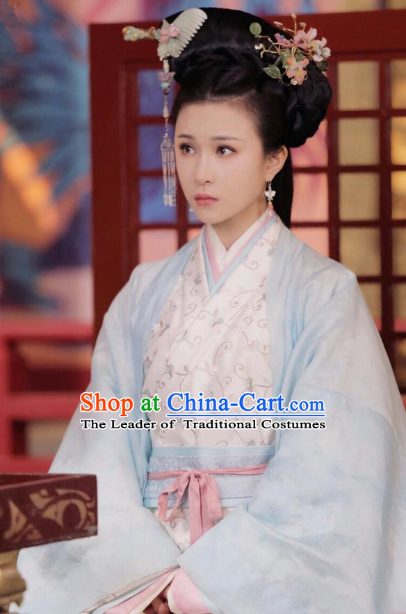 Traditional Ancient Chinese Imperial Consort Costume, Elegant Hanfu Dress Clothing, Chinese Warring States Period Imperial Empress Princess Tailing Embroidered Clothing for Women