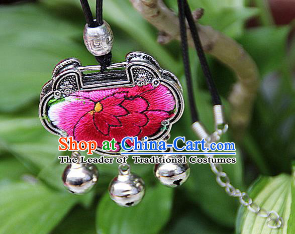 Traditional Chinese Miao Nationality Crafts, Hmong Handmade Miao Silver Embroidery Long Life Lock Bells Tassel Pendant, Miao Ethnic Minority Necklace Accessories Bells Pendant for Women