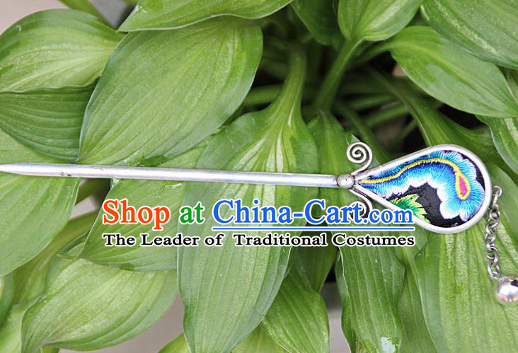 Traditional Chinese Miao Nationality Crafts Jewelry Accessory, Hmong Handmade Blue Embroidery Miao Silver Hairpin, Miao Ethnic Minority Bells Hair Fascinators Hairpins for Women