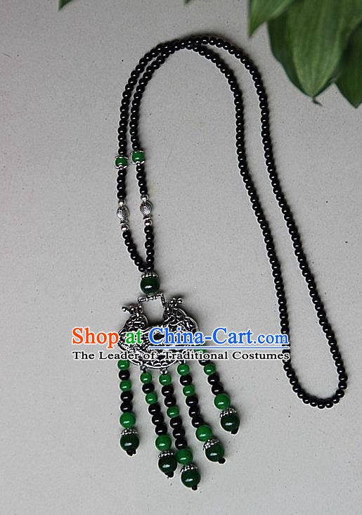 Traditional Chinese Miao Nationality Crafts Jewelry Accessory, Hmong Handmade Miao Silver Beads Tassel Chinese Knot Longevity Lock Pendant, Miao Ethnic Minority Necklace Accessories Sweater Chain Pendant for Women