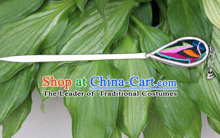 Traditional Chinese Miao Nationality Crafts Jewelry Accessory, Hmong Handmade Embroidery Hairpin, Miao Ethnic Minority Hair Fascinators Hairpins for Women