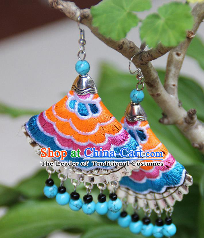 Traditional Chinese Miao Nationality Crafts Jewelry Accessory, Hmong Handmade Embroidery Beads Earrings, Miao Ethnic Minority Eardrop Accessories Ear Pendant for Women