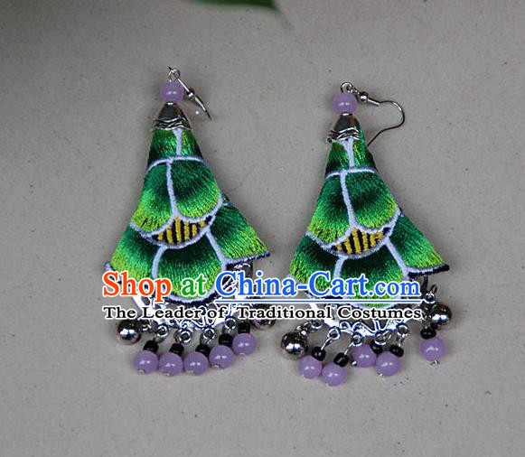 Traditional Chinese Miao Nationality Crafts Jewelry Accessory, Hmong Handmade Embroidery Beads Green Earrings, Miao Ethnic Minority Eardrop Accessories Ear Pendant for Women