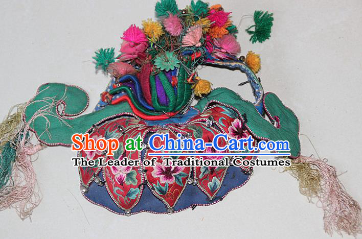 Traditional Chinese Miao Nationality Crafts Hmong Handmade Children Embroidery Phoenix Flowers Coronet Tiger Headwear, Miao Ethnic Minority Exorcise Evil Tiger Hat for Kids