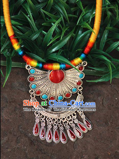 Traditional Chinese Miao Ethnic Minority Necklace, Hmong Handmade Colorized Collar Pendant, Miao Ethnic Jewelry Accessories Bells Necklace for Women