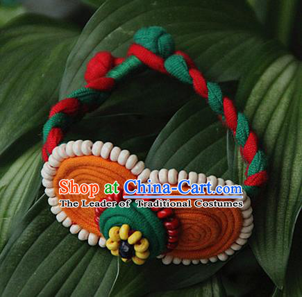 Traditional Chinese Miao Ethnic Minority Palace Jewelry Accessories Wristbands Bracelet, Hmong Handmade Button Bracelet for Women