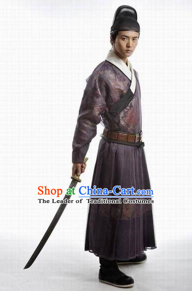 Traditional Ancient Chinese Ming Dynasty Bodyguard Costumes and Hat Complete Set for Men