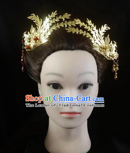 Traditional Handmade Chinese Ancient Classical Hair Accessories Barrettes Hairpin, Imperial Emperess Phoenix Coronet Hair Jewellery, Hair Fascinators Hairpins for Women