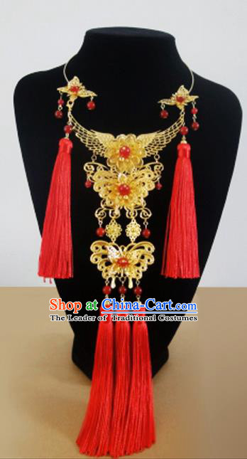Traditional Handmade Chinese Ancient Classical Jewellery Accessories Bride Necklace, Red Tassel Wedding Necklace for Women