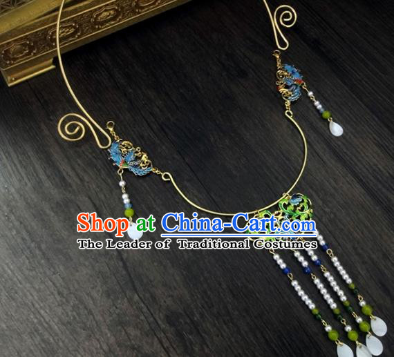 Traditional Handmade Chinese Ancient Classical Jewellery Accessories Jade Necklace, Blueing Tassel Wedding Necklace for Women