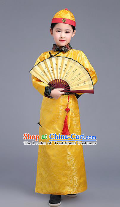 Traditional Ancient Chinese Imperial Emperor Costume, Chinese Qing Dynasty Wedding Dress, Cosplay Chinese Imperial Prince Clothing Hanfu for Kids