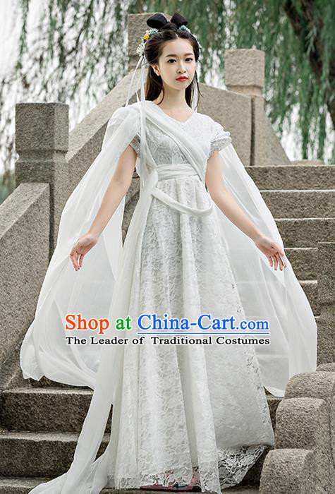 Traditional Ancient Chinese Imperial Princess Costume, Chinese Tang Dynasty Dance Dress, Cosplay Chinese Peri Imperial Princess Clothing Embroidered Hanfu Dress for Women