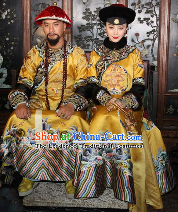 Traditional Ancient Chinese Imperial Emperess and Emperor Costume Complete Set, Chinese Qing Dynasty Manchu Wedding Dress, Cosplay Chinese Imperial Embroidered Clothing for Women for Men