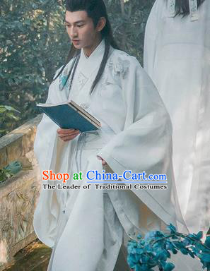 Traditional Ancient Chinese Male Costume, Chinese Han Dynasty Student Dress, Chinese Swordsman Clothing for Men
