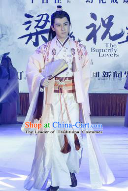 Traditional Ancient Chinese Male Costume, Chinese Han Dynasty Student Dress, Chinese Swordsman Embroidered Clothing for Men