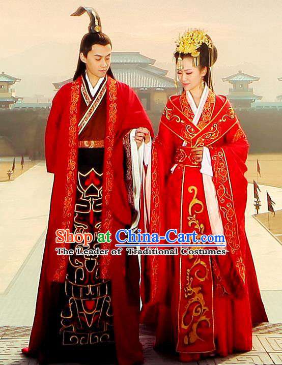 Traditional Ancient Chinese Imperial Emperess and Emperor Costume Complete Set, Chinese Han Dynasty Wedding Dress, Cosplay Chinese Imperial Embroidered Clothing for Women for Men