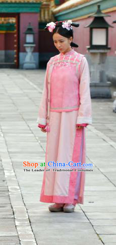 Traditional Ancient Chinese Female Costume, Chinese Qing Dynasty Manchu Palace Lady Dress, Cosplay Chinese Manchu Minority Princess Clothing for Women